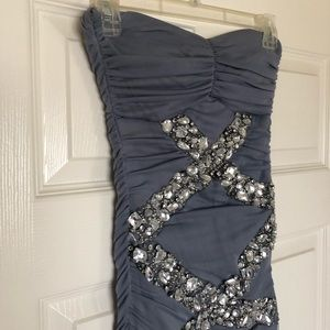 purple/gray prom dress